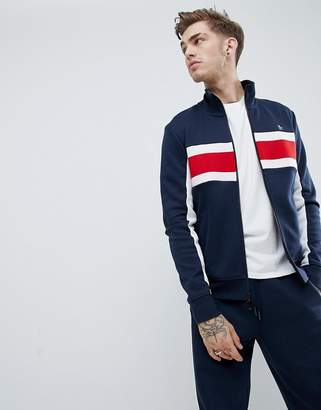 Original Penguin chest block stripe tricot track jacket in navy