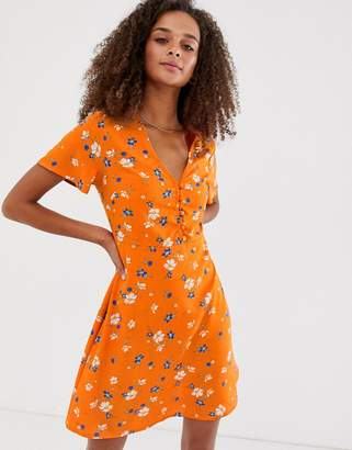 New Look button down dress in orange print