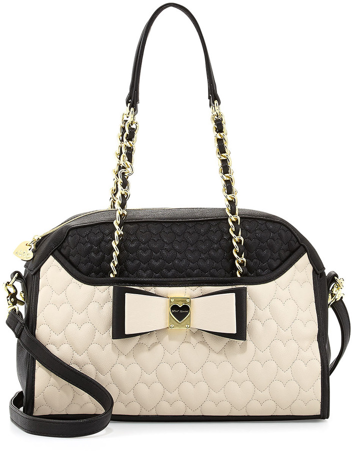Betsey Johnson Colorblocked Quilted Heart Dome Satchel Bag, Black