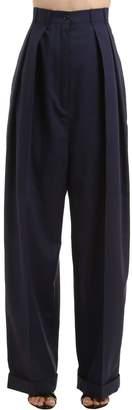 Nina Ricci High Waist Pleated Wool & Cotton Pants