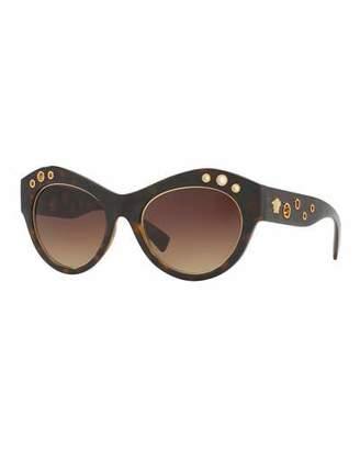 Versace Grommet Cat-Eye Sunglasses, Havana $240 thestylecure.com