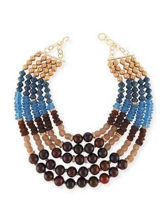 Akola Five-Strand Beaded Necklace, Blue/Brown