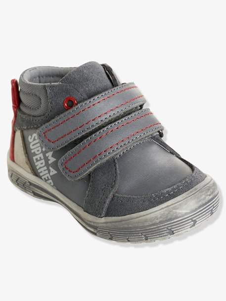 Boys' Leather Boots with Touch 'n' Close Fastening - grey medium solid