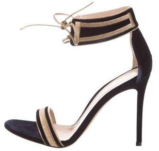 Gianvito Rossi Velvet Ankle Strap Sandals