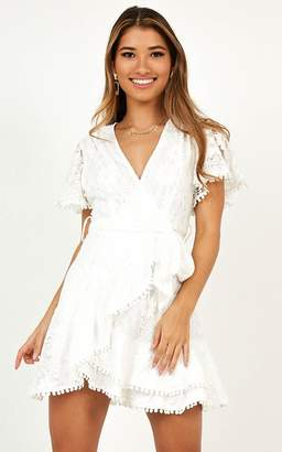 Showpo Nostalgic Summer dress in white lace - 8 (S) Mini Dresses