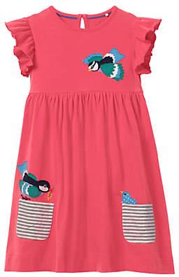 Boden Mini Girls' Bird Applique Pocket Dress, Pink