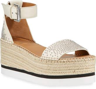 See by Chloe Studded Ankle-Strap Flatform Espadrilles