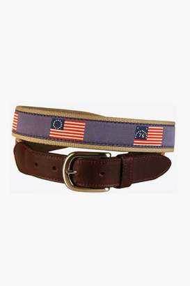 Gents Belted Cow Historical American Flags Leather Tab Belt
