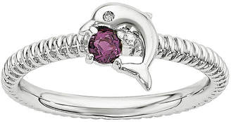 FINE JEWELRY Genuine Rhodolite Garnet and Diamond-Accent Sterling Silver Stackable Dolphin Ring