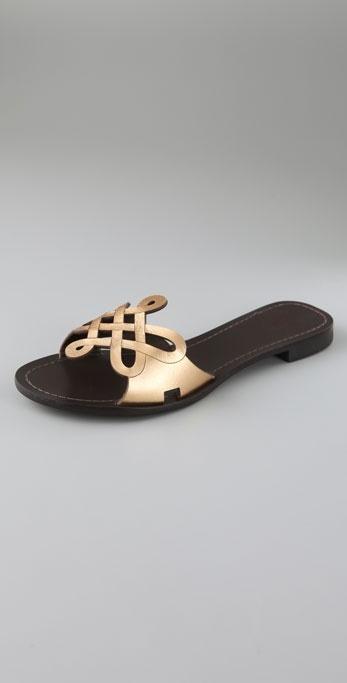 Diane Von Furstenberg Daryl Love Knot Flat Metallic Sandals