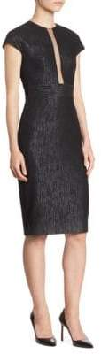 Lela Rose Sheer Front Panel Dress