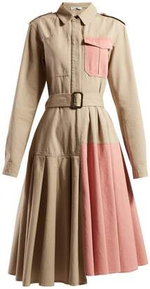J.W.Anderson Belted Panelled Cotton Shirtdress - Womens - Pink Multi