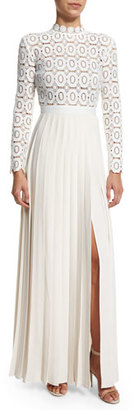 Self-Portrait Long-Sleeve Lace & Crepe Dress, Off White $545 thestylecure.com