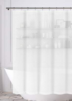 Duck River Textile Edith Metallic Silver Shower Curtain