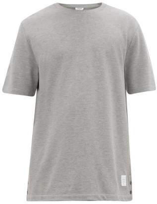 Thom Browne Striped Cotton Pique T Shirt - Mens - Light Grey