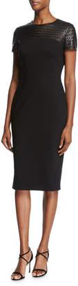 Escada Leather-Yoke Short-Sleeve Sheath Dress, Black