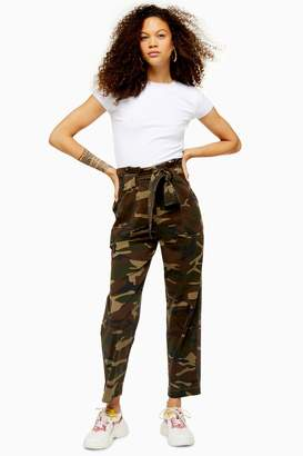 Topshop Womens Petite Camouflage Paperbag Trousers - Khaki