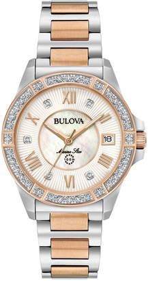 Bulova Women's Diamond Accent Marine Star Two-Tone Stainless Steel Bracelet Watch 32mm 98R234