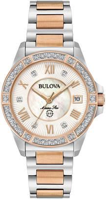 Bulova Women Diamond Accent Marine Star Two-Tone Stainless Steel Bracelet Watch 32mm 98R234