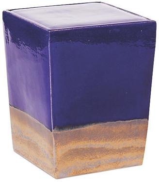Tacitus Square Cube Stool - Navy/Metallic - Seasonal Living