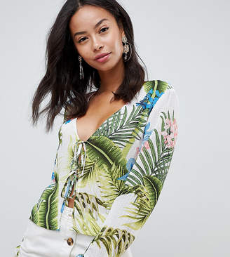 Missguided Tall Tie Front Palm Print Top