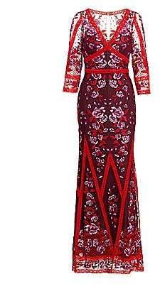Marchesa Women's Floral Lace Gown