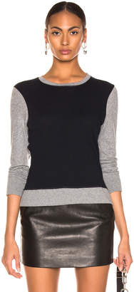 Enza Costa Cashmere Color Block Sweatshirt in Smoke   Cadet  60f6501f5