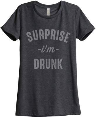 Thread Tank Surprise I'm Drunk Brunch Women's Relaxed T-Shirt Tee Grey 2X-Large