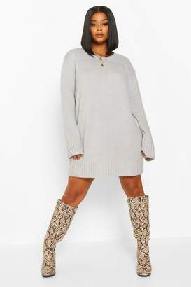 boohoo Plus Crew Neck Knitted Jumper Dress