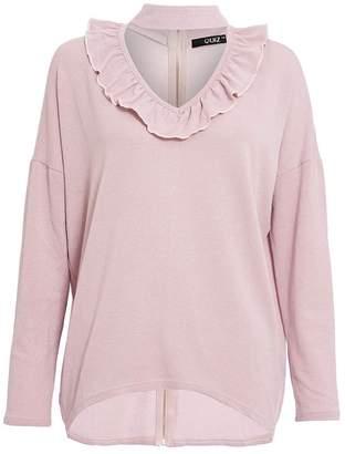Quiz Dusk Pink Light Knit Choker Detail Top