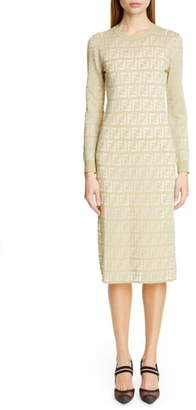 Fendi Long Sleeve Logo Jacquard Sweater Dress