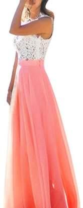 Flank Women Chiffon Stretch High Waist Maxi Dress Skater Flared Pleated Long Skirt (L, )