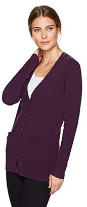 Lark & Ro Women's 100% Cashmere Soft Boyfriend Cardigan Sweater