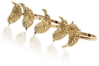 Natasha Zinko 18K yellow gold Crochet Bird floating four finger ring