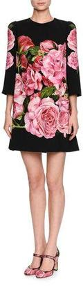 Dolce & Gabbana Rose-Print 3/4-Sleeve Shift Dress, Black/Pink $2,295 thestylecure.com