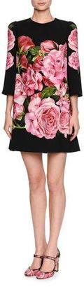 Dolce & Gabbana Rose-Print 3/4-Sleeve Shift Dress, Black/Pink $2,295 thestylecure.com