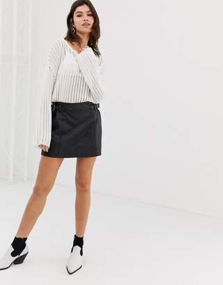 Free People Charli leather mini skirt
