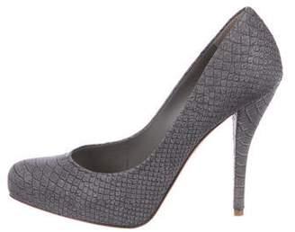 Christian Dior Snakeskin Round-Toe Pumps