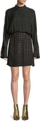 Sally Lapointe Long-Sleeve Golden-Stud Silk Mini Dress