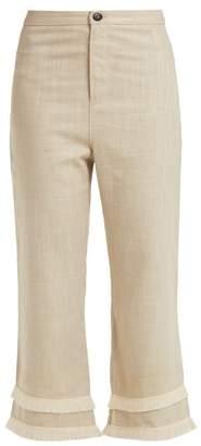 Staud - Cassie Raffia Trimmed Linen Blend Trousers - Womens - Khaki
