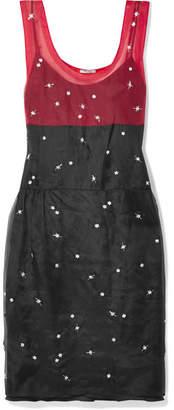 Miu Miu Embellished Two-tone Silk-organza Dress - Black