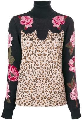 Vivetta flower and leopard knit sweater