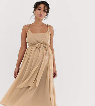 Asos DESIGN Maternity soft chiffon square neck midi prom dress with twist strap