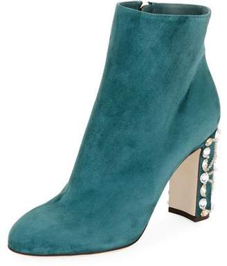 Dolce & Gabbana Suede Bootie with Jeweled Block Heel