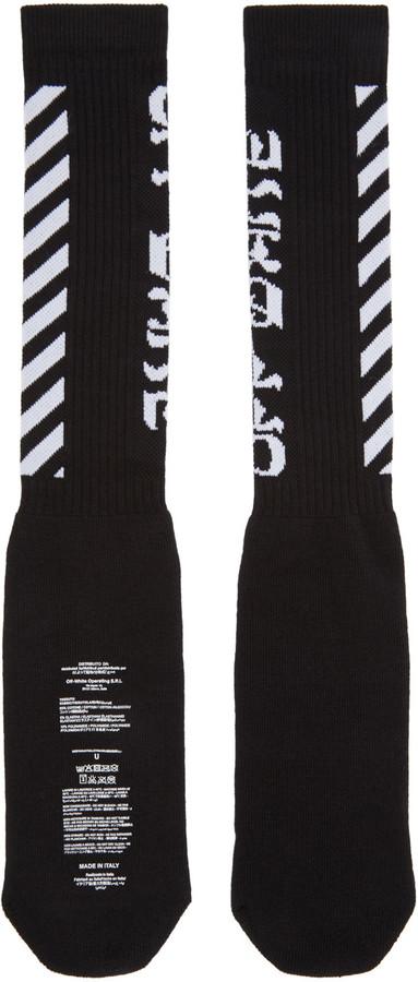 Off-White Black Diagonal Logo Socks 3