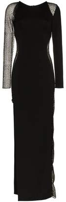Jagger Haney mesh panel side slit gown