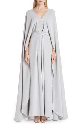 Christian Siriano V-Neck Cape Silk Gown