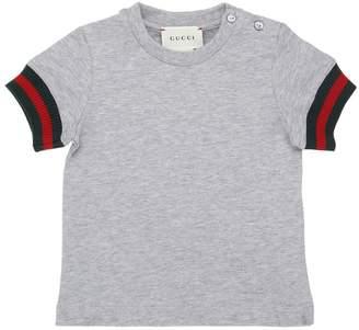 Gucci Cotton Jersey T-Shirt W/ Web Cuffs