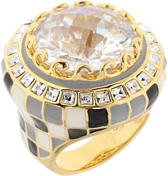Ralph Lauren G. Adams G Adams Goldtone Checkerboard Enamel Cocktail Ring