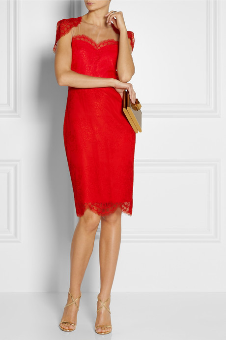 Shrug-effect lace dress